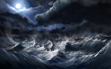 Waves Storm Wallpaper 2560x1600 Waves, Storm, Moon, Artwork, Alexlinde